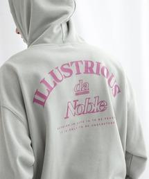 ビッグシルエット 裏毛 バックロゴデザインプルオーバーパーカー/ILLUSTRIOUS da Noble-2021SPRING(EMMA CLOTHES)ブルーグレー