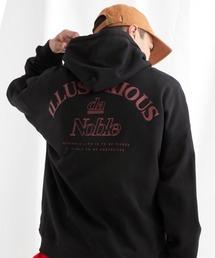 ビッグシルエット 裏毛 バックロゴデザインプルオーバーパーカー/ILLUSTRIOUS da Noble-2021SPRING(EMMA CLOTHES)ブラック