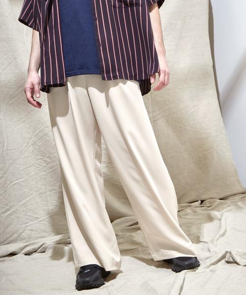 ブライトポプリン リラックス テーパード2タックワイドパンツ EMMA CLOTHES 2021 SUMMER