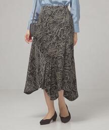 <ma couleur(マ クルール)>サテン フラワープリント ラッフルスカート