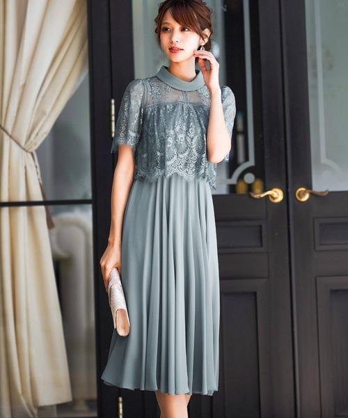 Fashion Letter(ファッションレター)の「レース切り替えロングドレス/成人式 同窓会や謝恩会に 結婚式ワンピース・パーティードレス(ドレス)」 ライトカーキ