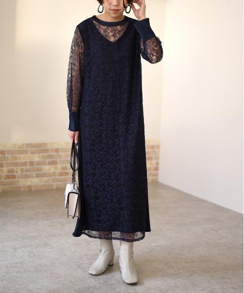 【Eimee Law】レースレイヤードスタンドカラードレス