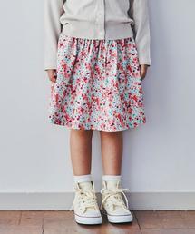 花柄×無地 リバーシブルスカート