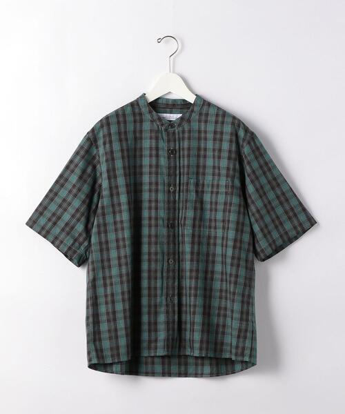 CM チェック バギー バンドカラー 半袖 シャツ
