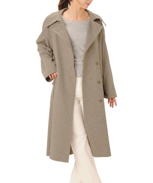 【ファッション通販】 ジャガードカシミヤ100%テーラーカラーロングコート, エバーラケット 8c06cf8d