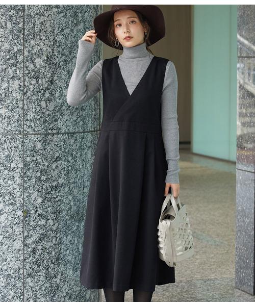 ROPE' PICNIC(ロペピクニック)の「【WEB限定】プレミアムフィールジャンパースカート(ジャンパースカート)」|ブラック
