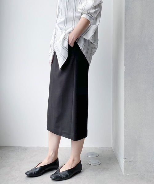 nano・universe(ナノユニバース)の「WEB限定/スリットタイトスカート(スカート)」|ブラック
