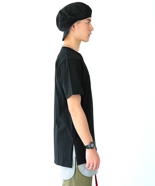 サイドスリット半袖ロング丈Tシャツ