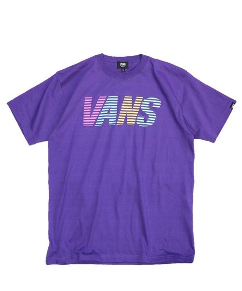 VANS(バンズ)の「VANS / ヴァンズ VANS STRIPE LOGO SS T(Tシャツ/カットソー)」|パープル