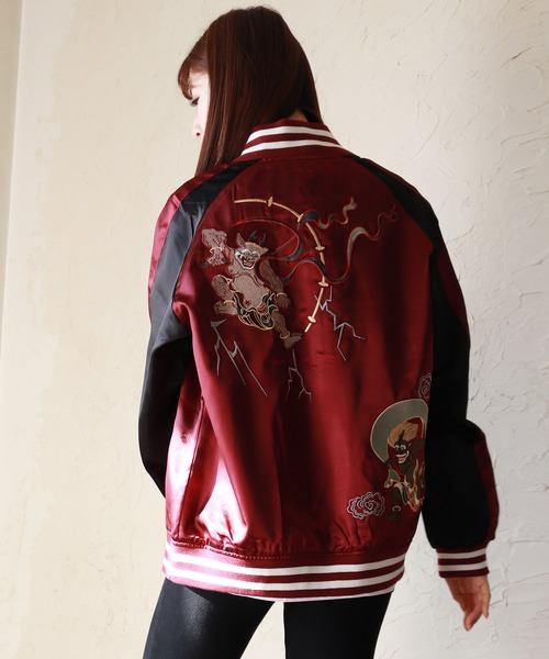 【WEB限定】虎 風神雷神 舞子 鷹 龍 和柄 薔薇虎 薔薇(バラ) スカジャン