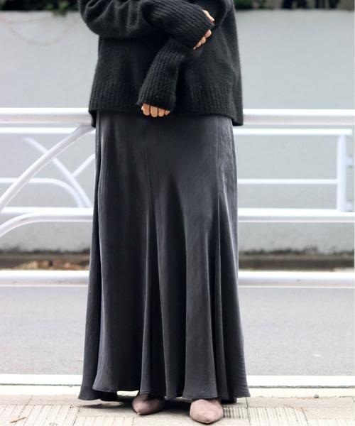 Plage(プラージュ)の「Fibril ギャザーロングスカート7◆(スカート)」|ブラック系その他