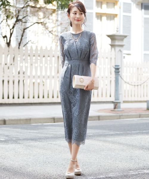 Dorry Doll(ドリードール)の「デコルテシアー袖付き総レースIラインドレス(ドレス)」 ライトカーキ