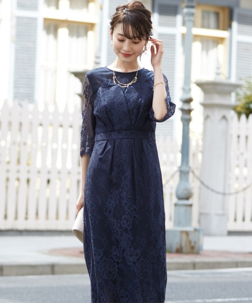 Dorry Doll(ドリードール)の「デコルテシアー袖付き総レースIラインドレス(ドレス)」 ネイビー
