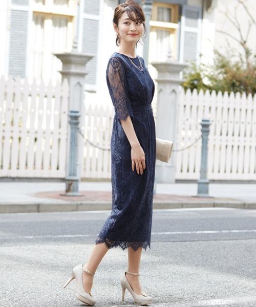 Dorry Doll(ドリードール)の「デコルテシアー袖付き総レースIラインドレス(ドレス)」 詳細画像