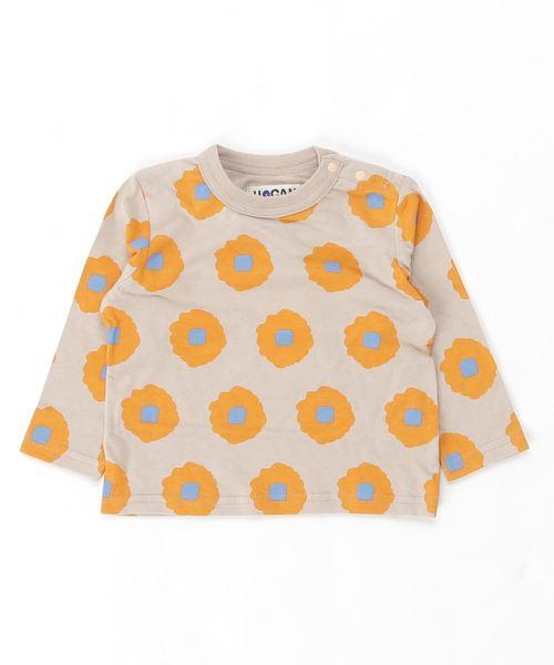 HOGAN RANCH WEAR(ホーガンランチウエア)の「ナガソデTシャツ はなはな(80〜130cm)(Tシャツ/カットソー)」|ベージュ