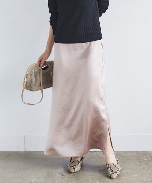 GALLARDAGALANTE(ガリャルダガランテ)の「サテンロングスカート(スカート)」|ベビーピンク