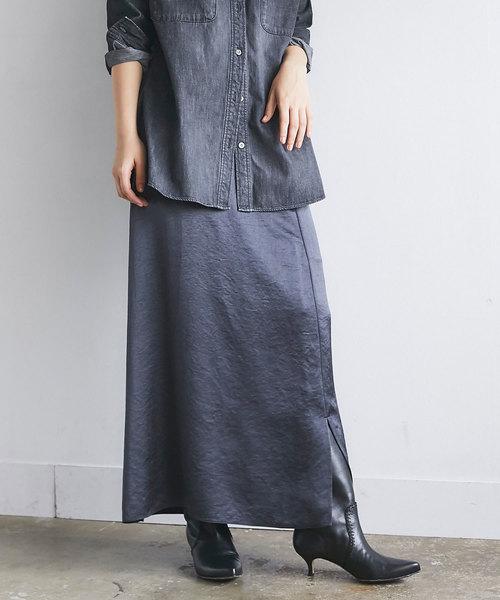 GALLARDAGALANTE(ガリャルダガランテ)の「サテンロングスカート(スカート)」 チャコールグレー