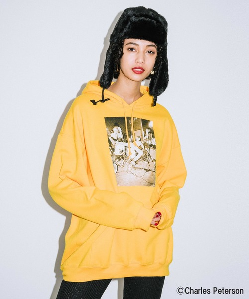 X-girl × Charles Peterson PHOTO SWEAT HOODIE
