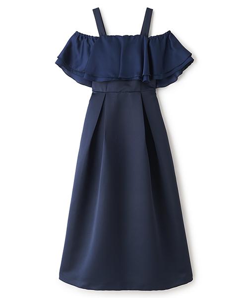 オフショルロングドレス