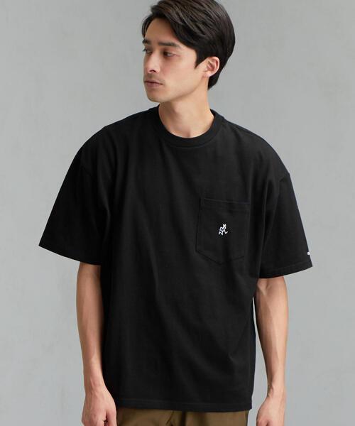 別注 [グラミチ]SC GRAMICCI GLR ロゴ ポケットTシャツ 5分袖