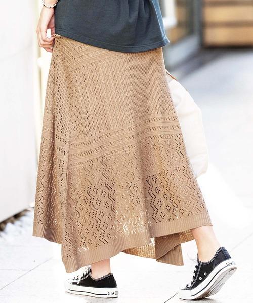 GeeRA(ジーラ)の「透かし編ニットロングスカート(スカート)」|ベージュ