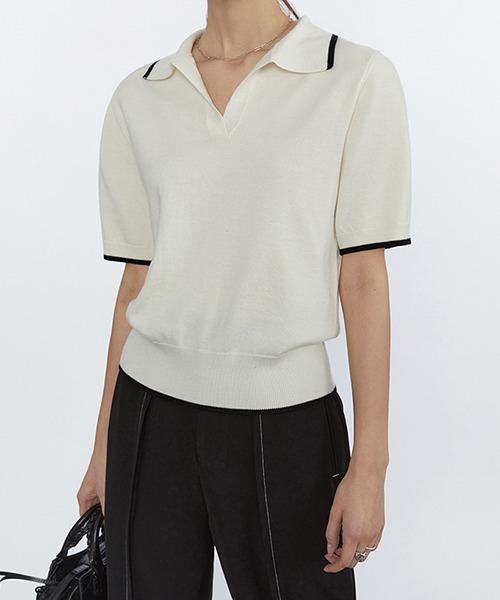 【Fano Studios】【2021SS】Lined knit polo shirt FC21S141