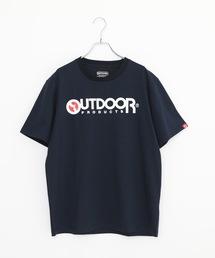 ひんやり接触冷感素材使用UVカット機能付きロゴプリントTシャツネイビー
