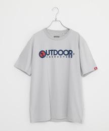 ひんやり接触冷感素材使用UVカット機能付きロゴプリントTシャツグレー