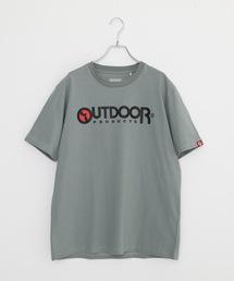 ひんやり接触冷感素材使用UVカット機能付きロゴプリントTシャツカーキ