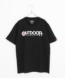 ひんやり接触冷感素材使用UVカット機能付きロゴプリントTシャツブラック