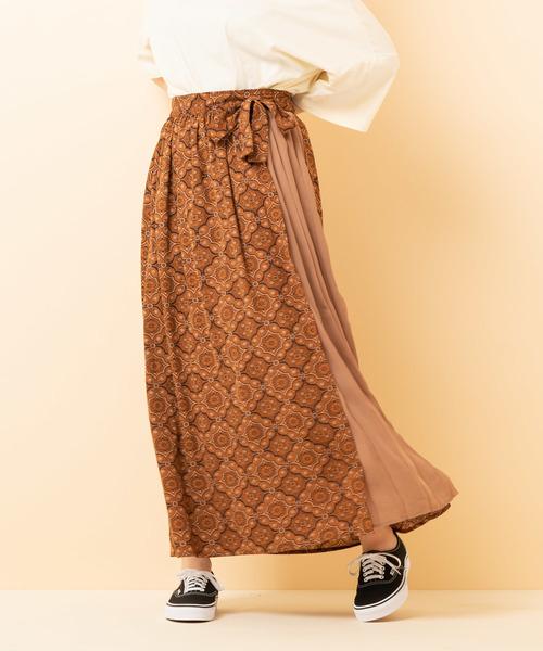 ペイズリーミックスラップスカート