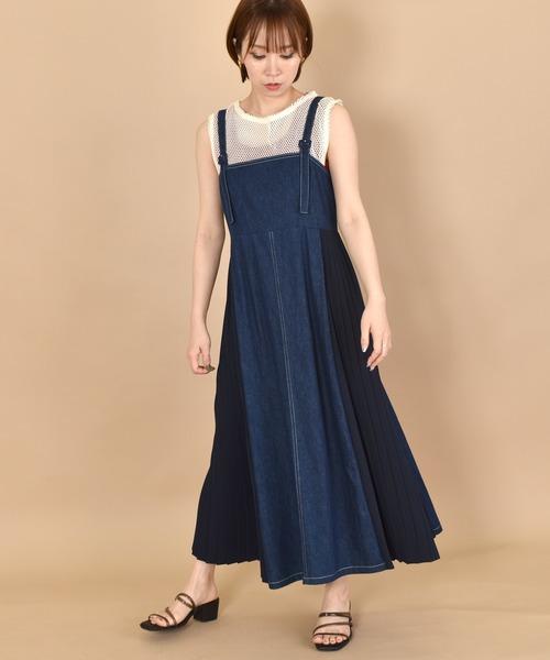 w closet(ダブルクローゼット)の「脇プリーツデニムジャンスカ(ジャンパースカート)」 ダークブルー