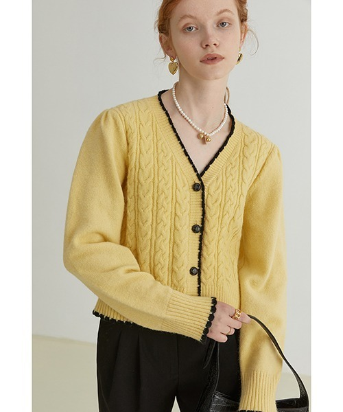 【Fano Studios】【2021AW】V neck cable knitted cardigan FQ21S069