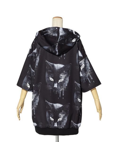 モノクローム黒猫半袖プルオーバーパーカー エクスクルーシブ -スーパービッグ-