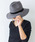 MODE ROBE(モードローブ)の「ベロア黒リボン ウール中折れハット 帽子 ウールハット(ハット)」|ダークグレー