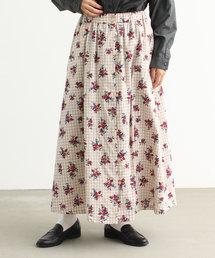 PAR ICI(パーリッシィ)のチェックヴィンテージローズプリント ボタンスカート(スカート)