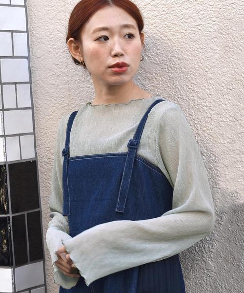 w closet(ダブルクローゼット)の「しわ加工シフォンボートネックプルオーバー(Tシャツ/カットソー)」|グレイッシュブルー