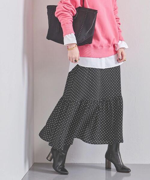 UWFM ドット ティアード マキシスカート