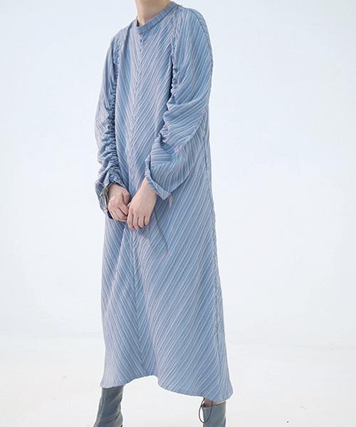 【chuclla】【2021/SS】Stripe gather one- piece dress chw1436