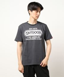 ひんやり接触冷感・UVカット素材使用オーバルロゴプリントTシャツチャコールグレー