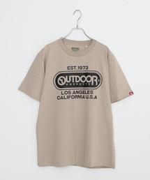 ひんやり接触冷感・UVカット素材使用オーバルロゴプリントTシャツベージュ