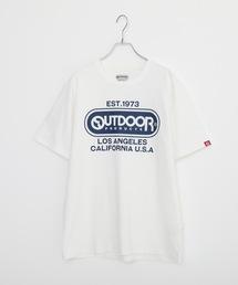 ひんやり接触冷感・UVカット素材使用オーバルロゴプリントTシャツホワイト