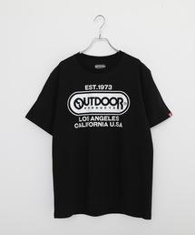 ひんやり接触冷感・UVカット素材使用オーバルロゴプリントTシャツブラック