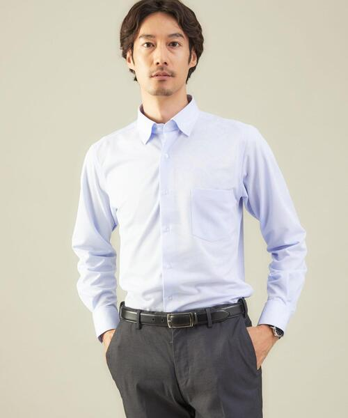 <WORK TRIP OUTFITS GREEN LABEL RELAXING> トリコット カノコ スナップダウンカラー スリム シャツ