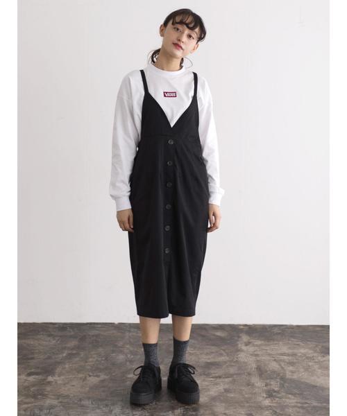・フロントボタンジャンパースカート