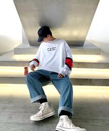 neos(ネオス)の【neos -original design-】スーパービッグシルエット 袖ライン ロゴ 切替 スウェット トレーナー(スウェット)