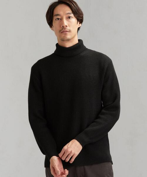SC カタアゼ 裾スリット タートルネックニット セーター<機能性 / 手洗い可能>