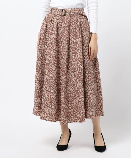Samansa Mos2(サマンサ モスモス)の「ベルト付フレアスカート(スカート)」 ブラウン