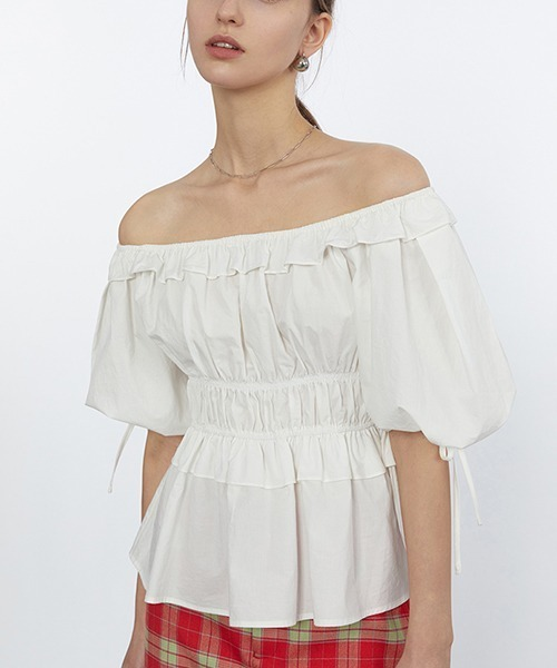【Fano Studios】【2021SS】Gathered off-shoulder blouse FC21S049