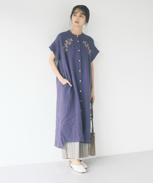 [CRAFT STANDARD BOUTIQUE] 【WEB限定】ボタニカル刺繍シャツワンピース *◇